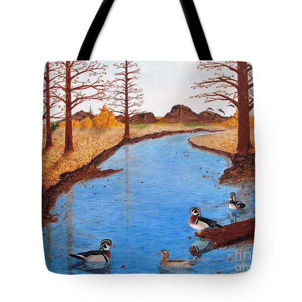 Wood Ducks On Jacobs' Creek Tote Bag