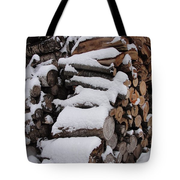Tote Bag featuring the photograph Wood Pile by Tiffany Erdman