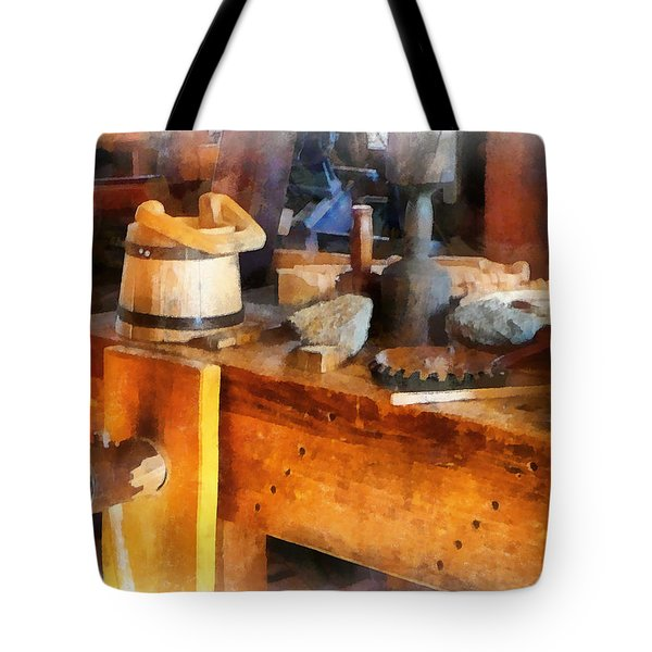 Wood Shop With Wooden Bucket Tote Bag by Susan Savad
