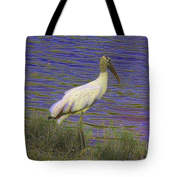 Wood Stork By The Pond Tote Bag by Deborah Benoit