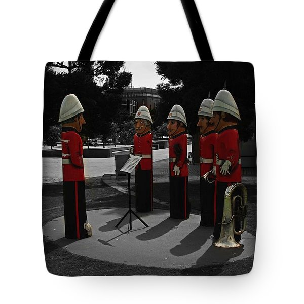 Tote Bag featuring the photograph Wooden Bandsmen by Blair Stuart