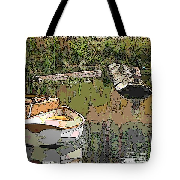 Wooden Boat Placid Tote Bag by Tim Allen