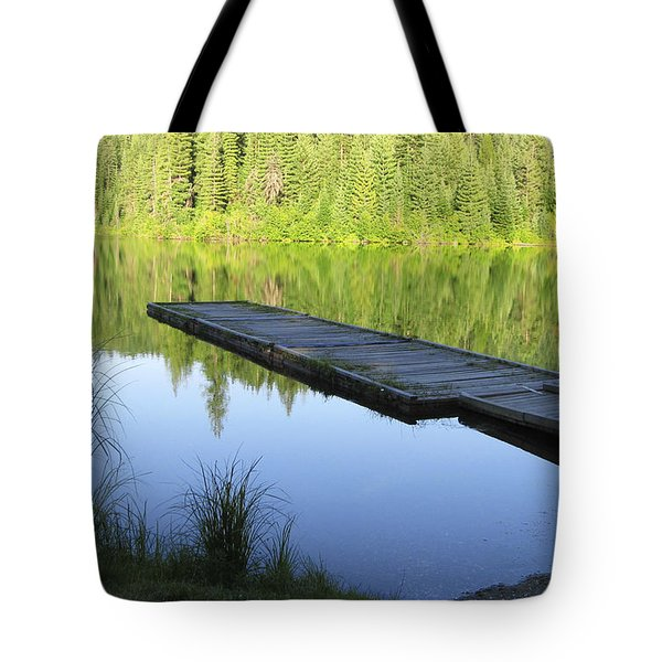 Wooden Dock On Lake Tote Bag by Anne Mott