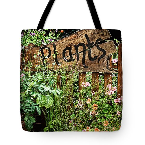 Wooden Plant Sign In Flowers Tote Bag