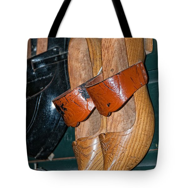 Tote Bag featuring the digital art Wooden Shoe Sandals by Carol Ailles