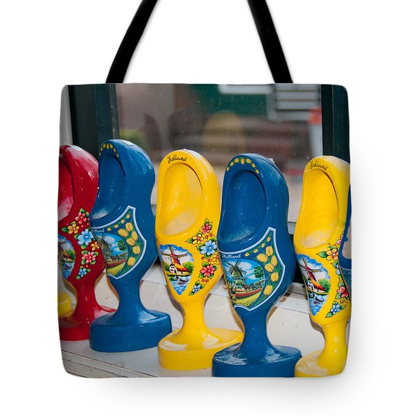 Tote Bag featuring the digital art Wooden Shoes by Carol Ailles