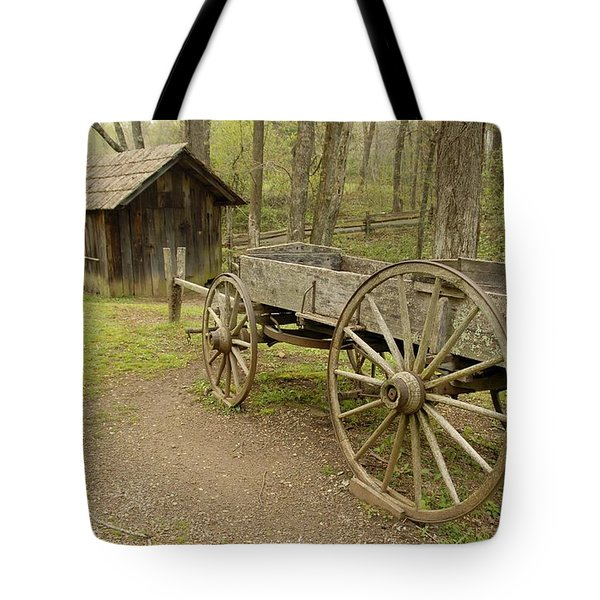 Wooden Wagon Tote Bag by Cindy Manero