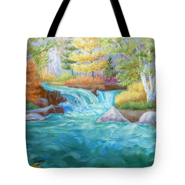 Tote Bag featuring the painting Woodland Stream by Irene Hurdle
