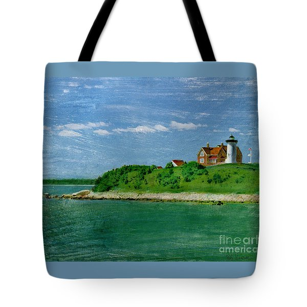 Woods Hole Lighthouse Tote Bag by Bob Senesac