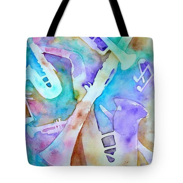 Tote Bag featuring the painting Woodwinds And Brass by Mary Kay Holladay