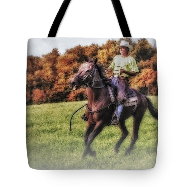 Wrangler And Horse Tote Bag by Susan Candelario
