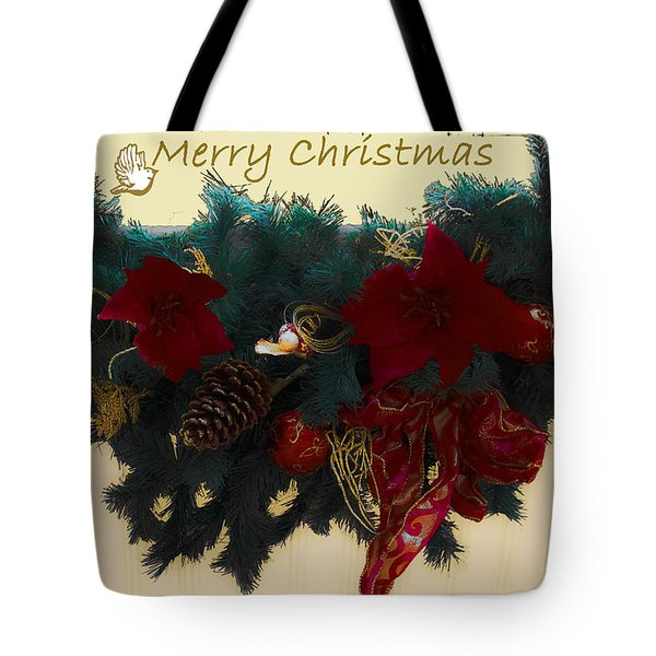 Wreath Garland Greeting Tote Bag by DigiArt Diaries by Vicky B Fuller