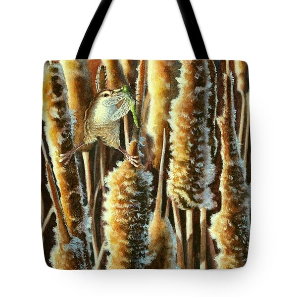 Wren And Cattails 2 Tote Bag