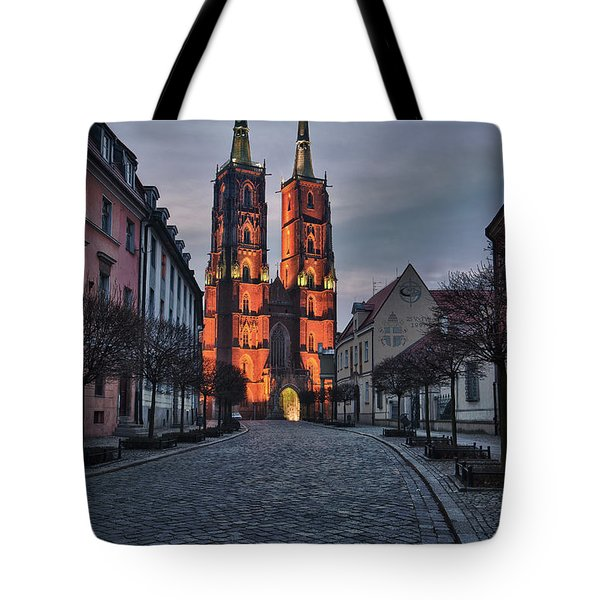 Wroclaw Cathedral Tote Bag by Sebastian Musial