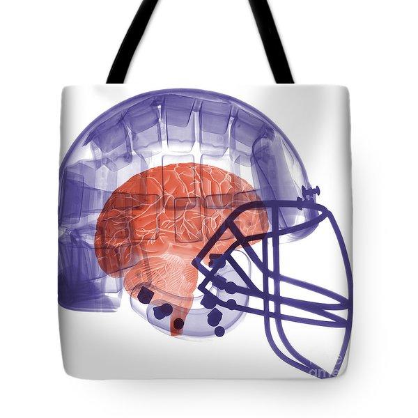 X-ray Of Head In Football Helmet Tote Bag by Ted Kinsman