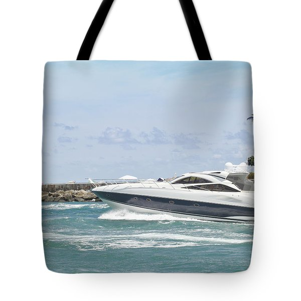 Yacht In Inlet Tote Bag