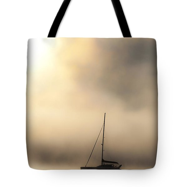 Yacht In Mist Tote Bag by Avalon Fine Art Photography
