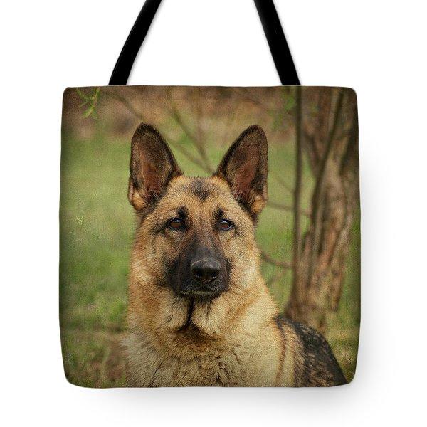 Yahtzee - German Shepherd Tote Bag by Sandy Keeton