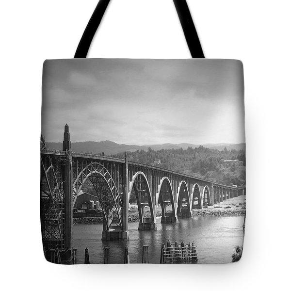 Yaquina Bay Bridge Oregon B And W Tote Bag by Joyce Dickens