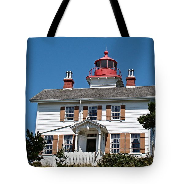 Yaquina Bay Lighthouse Tote Bag by Nick Kloepping