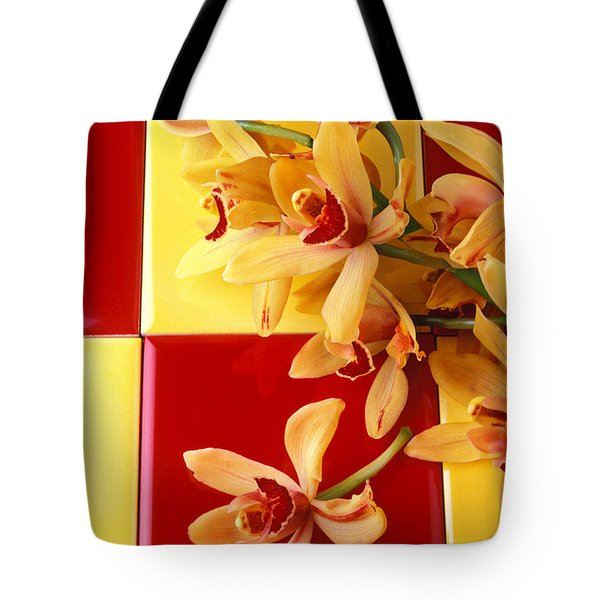 Yellow And Red Orchids  Tote Bag by Garry Gay