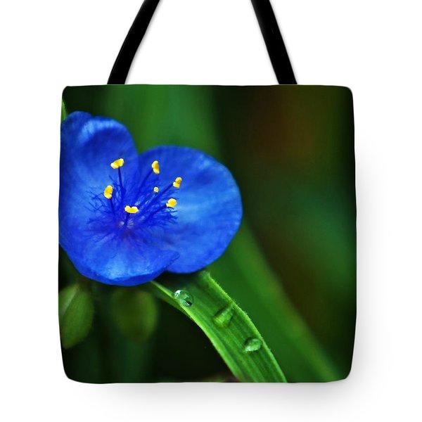 Yellow Blue And Raindrops Tote Bag