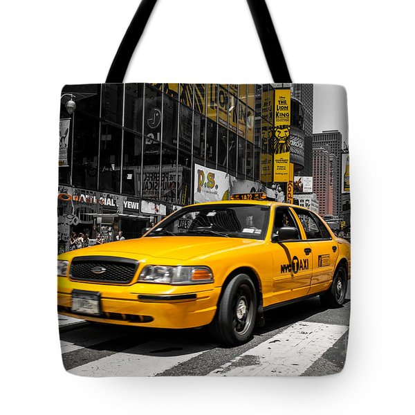 Yellow Cab At The  Times Square Tote Bag by Hannes Cmarits