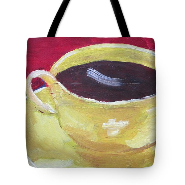 Yellow Cup On Red Tote Bag