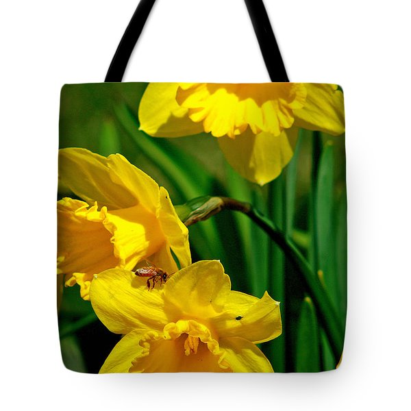 Tote Bag featuring the photograph Yellow Daffodils And Honeybee by Kay Novy