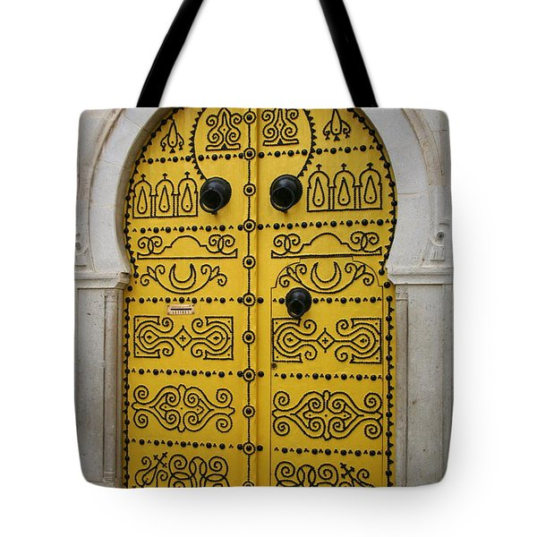 Tote Bag featuring the photograph Yellow Door In Bardo by Laurel Talabere