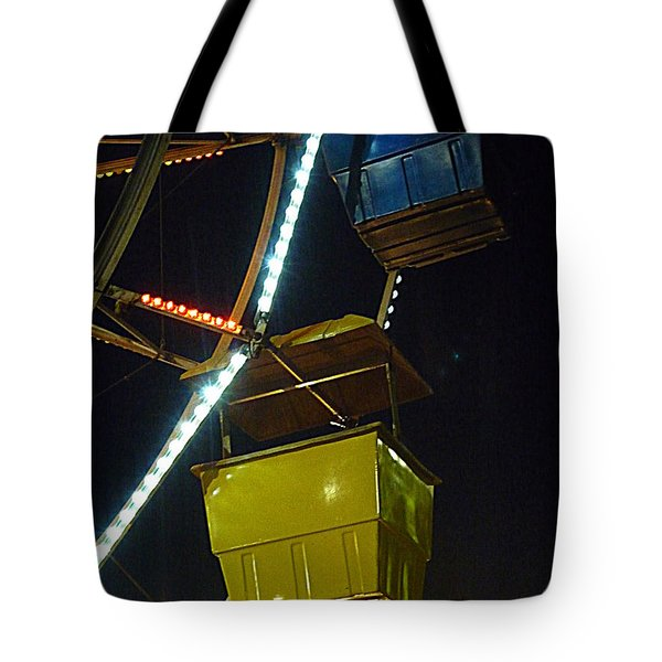 Tote Bag featuring the photograph Yellow Ferris Wheel Bucket by Renee Trenholm