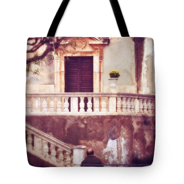 Yellow Flowers In A Vase In Taormina Sicily Tote Bag by Silvia Ganora