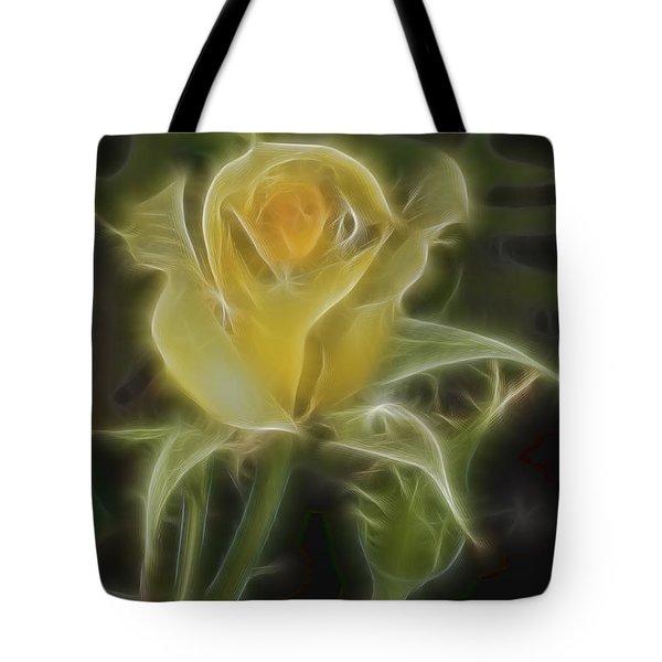 Yellow Fractalius Rose Tote Bag by Deborah Benoit