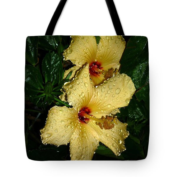 Tote Bag featuring the photograph Yellow Hibiscus After The Rain by Renee Trenholm