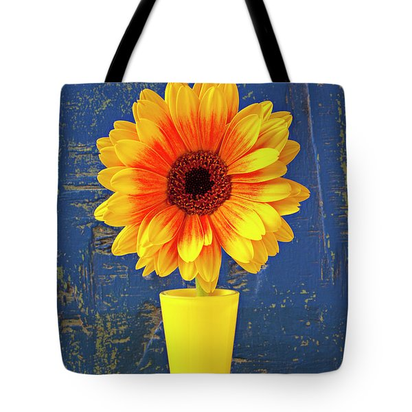 Yellow Mum In Yellow Vase Tote Bag by Garry Gay