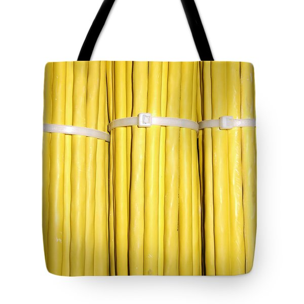 Yellow Network Cables Tote Bag by Matthias Hauser