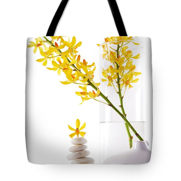 Yellow Orchid Bunchs Tote Bag by Atiketta Sangasaeng