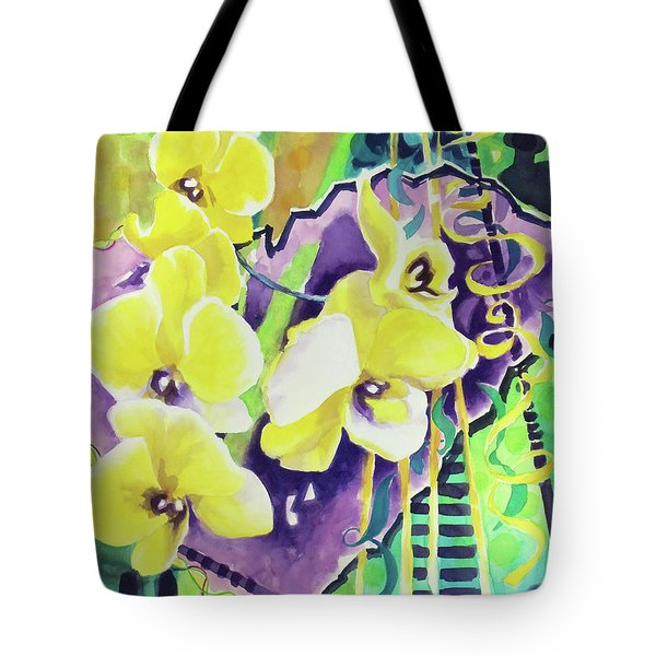 Yellow Orchids Of The Heart Tote Bag by Kathy Braud