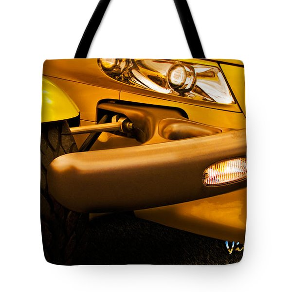 Yellow Prowler Detail Tote Bag by Chas Sinklier