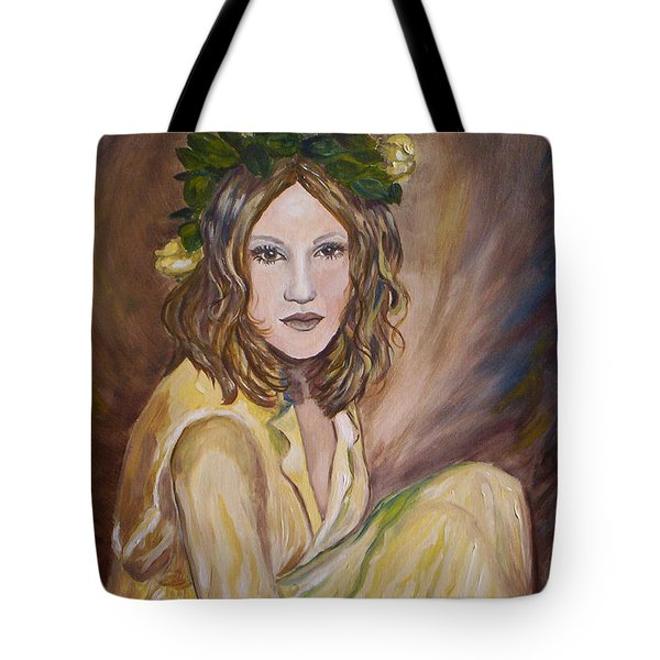 Tote Bag featuring the painting Yellow Rose by Julie Brugh Riffey