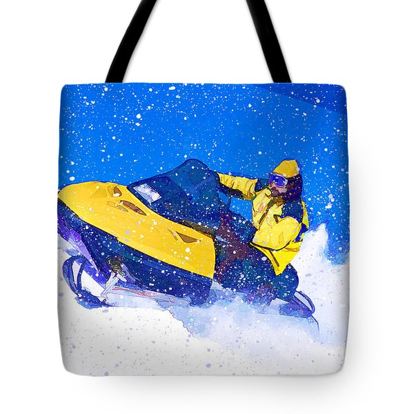 Yellow Snowmobile In Blizzard Tote Bag by Elaine Plesser