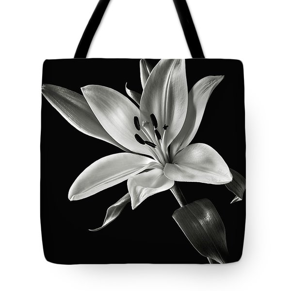 Tote Bag featuring the photograph Yellow Tiger Lily In Black And White by Endre Balogh