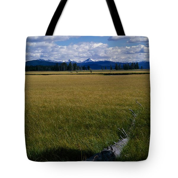 Tote Bag featuring the photograph Yellowstone Log by J L Woody Wooden