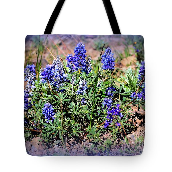 Yellowstone Lupine Blue Tote Bag by Carol Groenen
