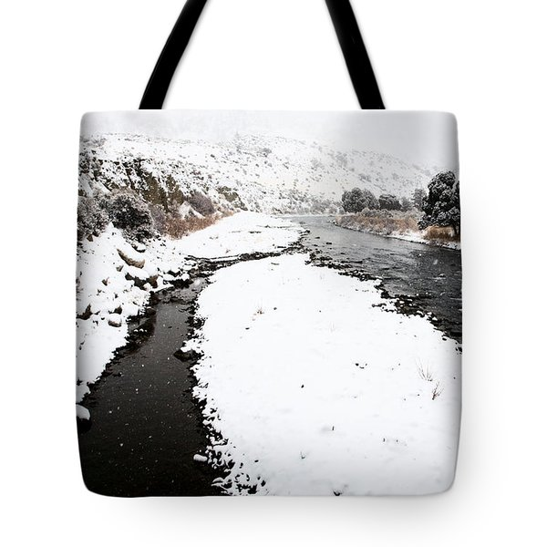 Yellowstone Park Wyoming Winter Snow Soda Butte Creek Tote Bag by Mark Duffy