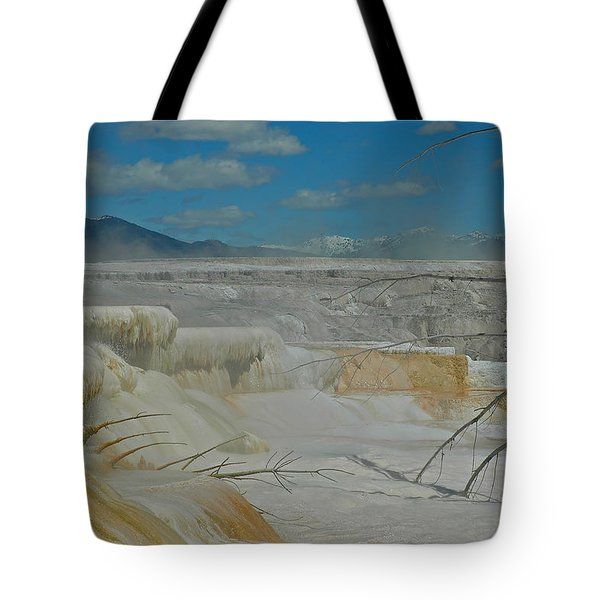 Yellowstone's Canary Springs Tote Bag by Bruce Gourley