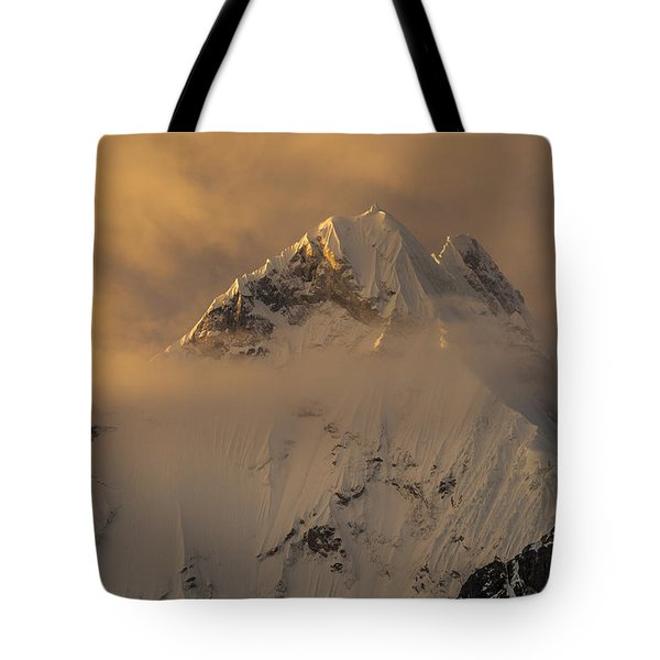 Yerupaja Summit Ridge 6617m At Sunset Tote Bag by Colin Monteath