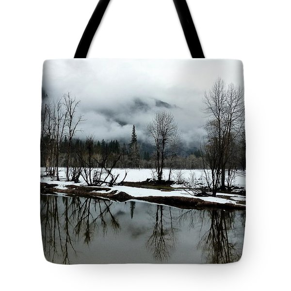Yosemite River View In Snowy Winter Tote Bag by Jeff Lowe