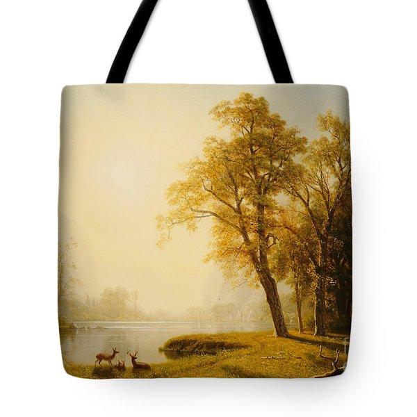 Yosemite Valley Tote Bag by Albert Bierstadt