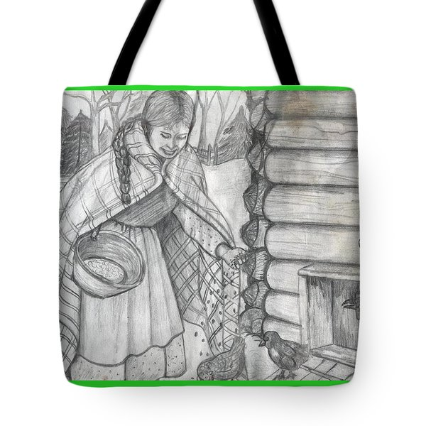 Young Girl Feeding The Chickens In The 1800's Tote Bag by Francine Heykoop